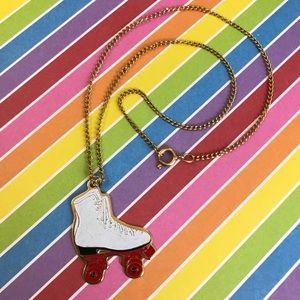 Vintage Roller Skate Necklace Costume Jewelry VTG